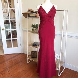 LuLus wine crocheted formal dress